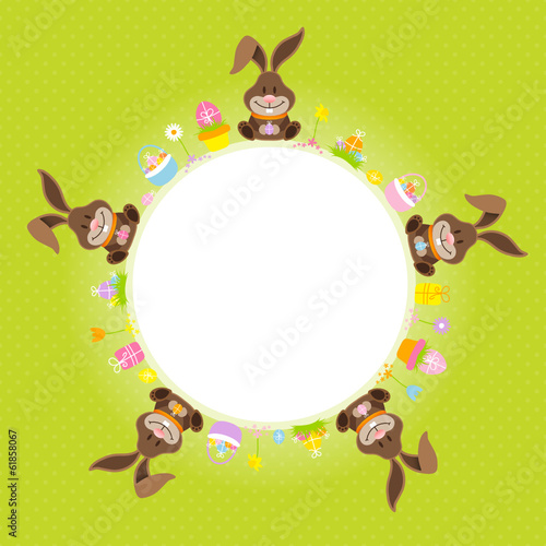 Easter Bunnies Round Frame Green