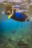 Beautiful Young Man Snorkeling Mediteranian Sea.