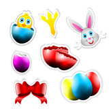 Happy Vector Stickers with Easter Themes
