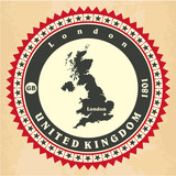 Vintage label-sticker cards of United Kingdom.