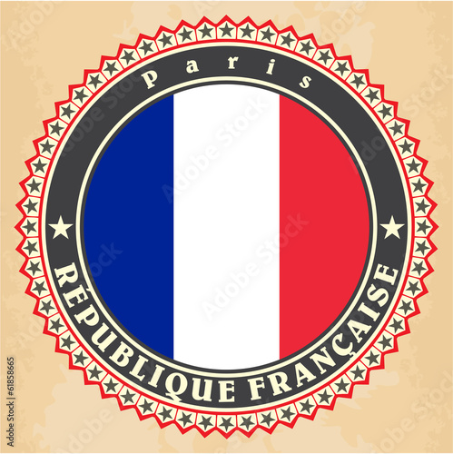 Vintage label cards of France flag.