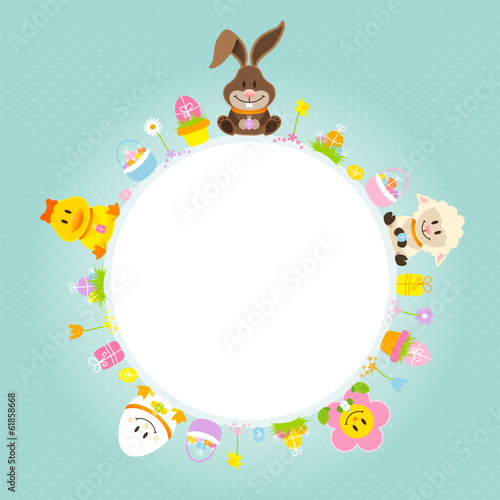 Easter Bunny & Friends Round Frame Retro