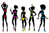 Set of Woman silhouettes in different colors bikini swimwear iso