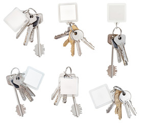 set of bunch of door keys with blank keychain