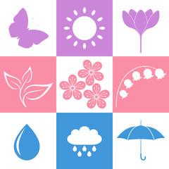 Spring. Icon Set