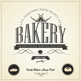 Vintage bakery labels, badges and design elements
