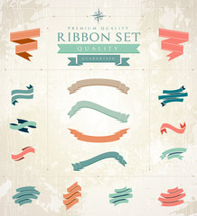 Retro ribbons set