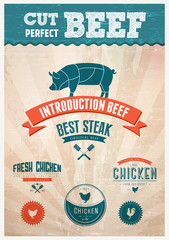 Fresh Chicken and pork beef badges