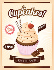 Cupcake poster design,  vector illustration