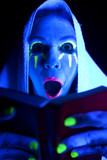 Woman black light book mouth open poster