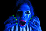 Woman black light mouth open poster