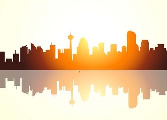 Calgary Canada City Skyline at Early Morning -vector