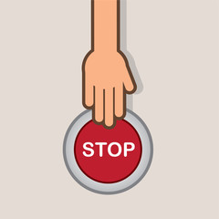 Stop button about to be pressed by hand