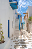 Traditional greek alley on Mykonos island, Greece