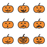 Pumpkin Face Expressions Icons