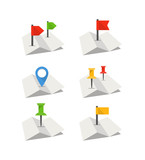 Folded abstract city map with collection of flags. Flat design