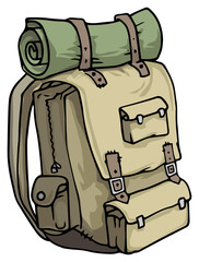 Hand drawn, tourist, hiker backpack