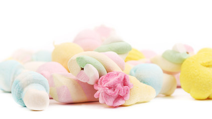 Many different colorful marshmallows.
