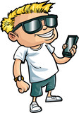 Cartoon nerd with a smart phone