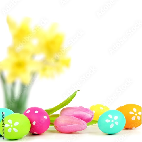 Colorful Easter egg border with abstract floral background