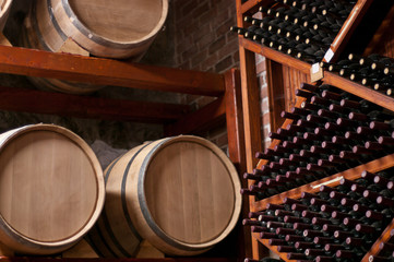 Wine Barrels and bottles on shelf in a Cellar