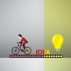 Concept - cyclist develops the power of ideas