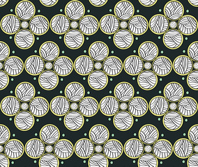 Abstract Circles Dark Endless Seamless Pattern