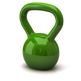 Green dumbbells. Fitness icon