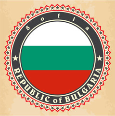 Vintage label cards of Bulgaria flag.