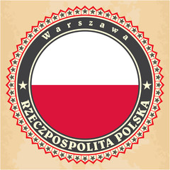 Vintage label cards of Poland flag