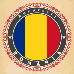 Vintage label cards of Romania flag