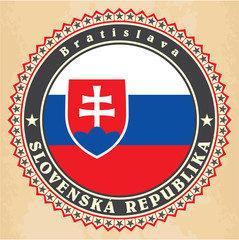 Vintage label cards of Slovakia flag.