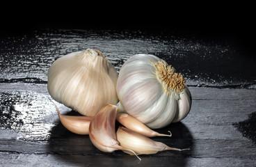 Garlic on a Black Slate