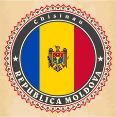 Vintage label cards of Moldova flag.