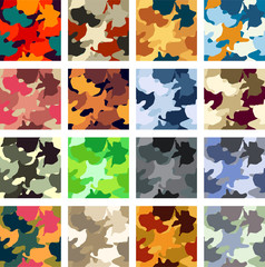 Abstract camouflage vector seamless pattern pack
