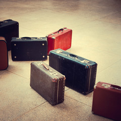 group of vintage suitcase
