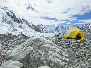 Everest Base Camp in cloudy day, Everest Region