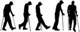 Vector silhouettes of people with crutches.