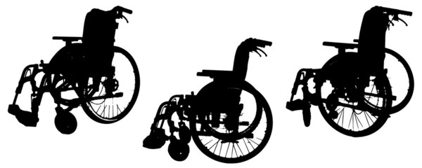 Vector silhouette of a wheelchair.