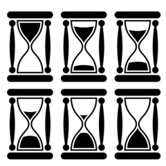 Black and white sandglass icon