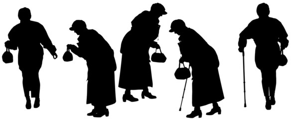 Vector silhouette of the old woman.