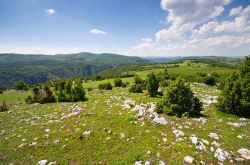 Balkans hills covered by rocks