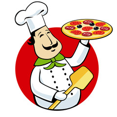 funny cartoon chef cook with pizza