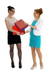 Kobiety wymiana dokumentów