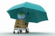 Earth and suitcases on freight light cart under umbrella