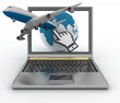 Hand cursor, earth globe and plane taking off from laptop