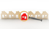 Magnifying glass selects or inspects home in row of houses