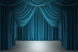 Blue closed the curtain, lit by a spotlight