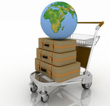 Transportation of earth and suitcases on  freight light cart