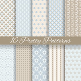 Fototapety Pretty pastel vector seamless patterns (tiling, with swatch)